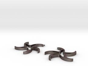 Galassie (earrings) in Polished Bronzed Silver Steel