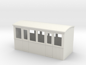 009 4 wheeled 2 compartment 3rd class coach body  in White Natural Versatile Plastic
