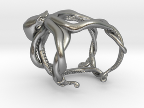 Octopus Ring in Natural Silver