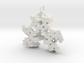 SuperFractal Reverse Pendant in White Natural Versatile Plastic