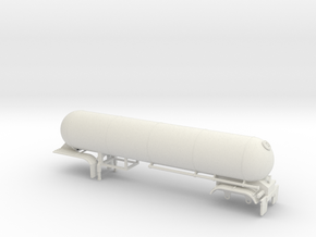 S-scale 1/64 Trailer 15, Twin Axle LPG in White Natural Versatile Plastic