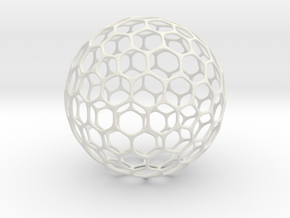 Geo-ball (5cm) in White Natural Versatile Plastic