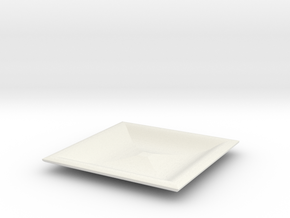 Square red cap plate in White Strong & Flexible