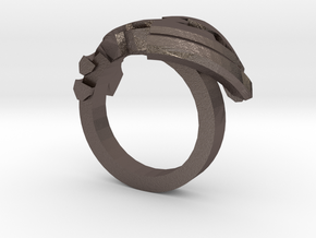 Avar Ring - us:9 fin:Ø19 in Polished Bronzed Silver Steel