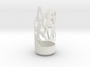 Merry Chrismas pencil holder in White Strong & Flexible
