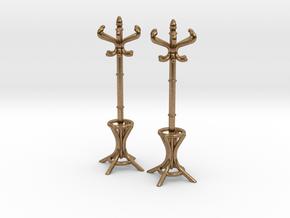Pair of 1:48 Metal Hatstands in Natural Brass