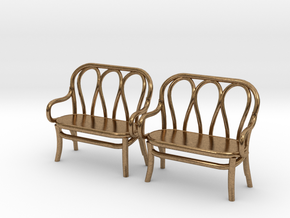 Pair of 1:48 Bentwood Settees in Natural Brass