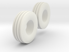 1:64 scale 11L-15 4 Rib Tires  in White Natural Versatile Plastic