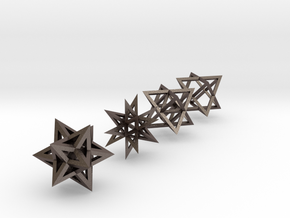 Crystalline Light Body Shapes in Polished Bronzed Silver Steel