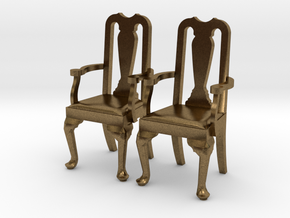Pair of 1:48 Queen Anne Chairs, with arms in Natural Bronze