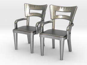 Pair of 1:48 Dog Bone Chairs, with Arms in Natural Silver