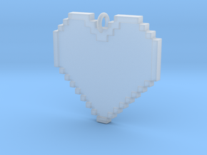 Pixel Heart Necklace Pendant or Ornament FIXED in Smooth Fine Detail Plastic