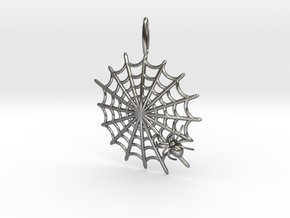 Spider & Web in Polished Silver
