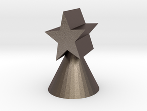 Xmas star ornament for small trees in Polished Bronzed Silver Steel