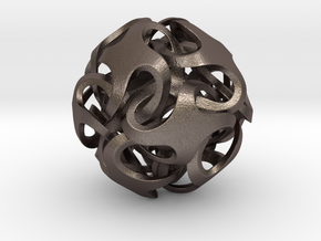 Rhombic Dodecahedron I, medium in Polished Bronzed Silver Steel