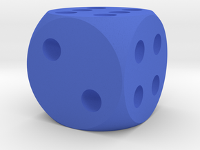 Simple D6 Dice in Blue Processed Versatile Plastic