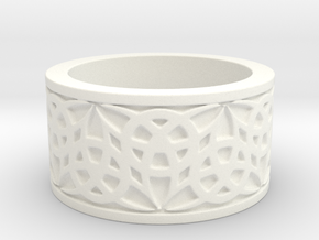 """""""Eternal Triquetra"""" Ring Size 6 in White Processed Versatile Plastic"""