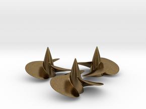Three ship propellers f. Bismarck/Tirpitz 1/200 V2 in Natural Bronze