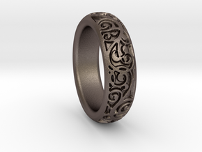Swirling Vine Ring - Size 7 in Polished Bronzed Silver Steel