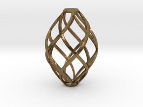 Zonohedron Pendant or Earring in Natural Bronze