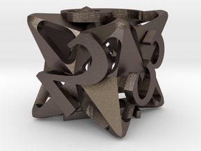 Pinwheel d6 Ornament in Polished Bronzed Silver Steel