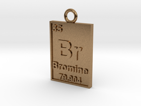 Bromine Periodic Table Pendant in Natural Brass