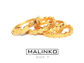 'Stackable Mix' Rings Size 7 (17.3 mm) x 4 pcs in Matte Gold Steel