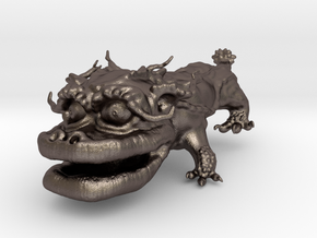 Dragon Dog v01 6cm in Polished Bronzed Silver Steel