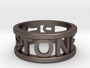 Name Ring in Polished Bronzed Silver Steel