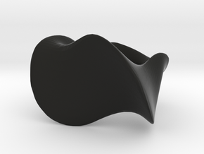"""""""Waves"""" ... Right Hand Ring . in Black Natural Versatile Plastic"""