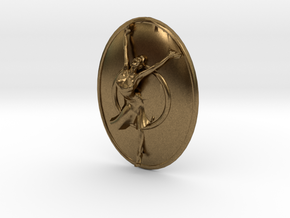 Joyful Dancer Small Pendant with circle background in Natural Bronze