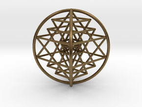 "3D Sri Yantra 4 Sided Optimal 3"" in Natural Bronze"