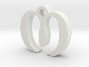 M Necklace in White Natural Versatile Plastic
