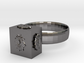 Dr Who The Pandorica Ring in Polished Nickel Steel