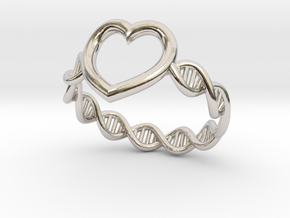 Heart DNA Ring in Platinum