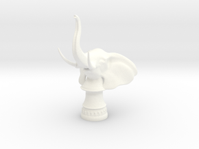Elephant Rook (Round Base) in White Processed Versatile Plastic