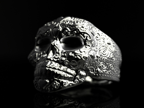 Day Of The Dead Ring - Size 12 in Polished Silver