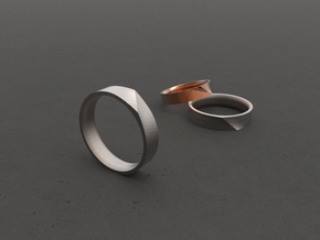 """LINE""_Women ring in Polished Bronzed Silver Steel"