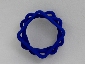 Stacked And Staggered Ring - US Size 07 in Blue Processed Versatile Plastic
