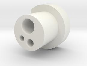 3 Hole Borden Connector in White Natural Versatile Plastic