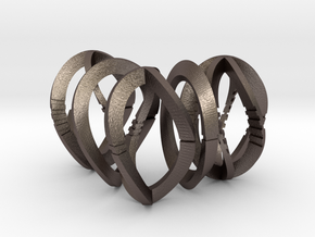 Modern Art Dice Set (D1, D2, D3, D4, D6) in Polished Bronzed Silver Steel
