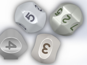 set of dice with concave faces (digits) in White Natural Versatile Plastic