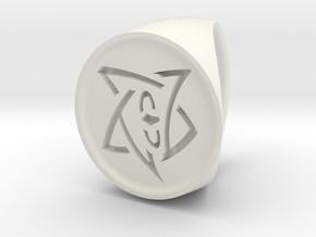 Elder Sign Signet Ring Size 7 in White Natural Versatile Plastic
