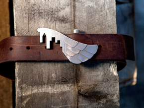 Wings Over the City Belt Buckle in Polished Bronzed Silver Steel