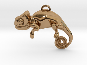 Enigmatic Chameleon Pendant in Polished Brass