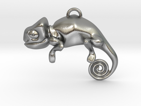 Enigmatic Chameleon Pendant in Natural Silver