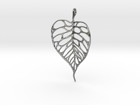 Heart Shaped Leaf Pendant: 5cm in Premium Silver