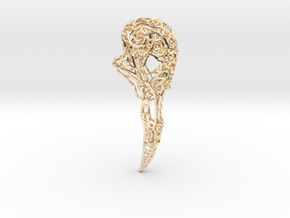 Bird Skull Filigree: 7cm in 14K Yellow Gold