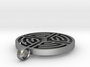 Labyrinth Pendant in Natural Silver