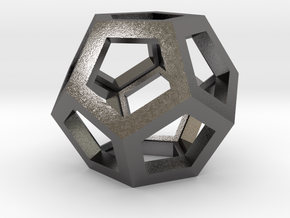 Dodecahedron Necklace Pendant in Polished Nickel Steel